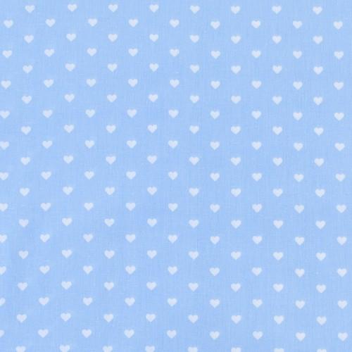 ткань на отрез бязь сердечки голубой