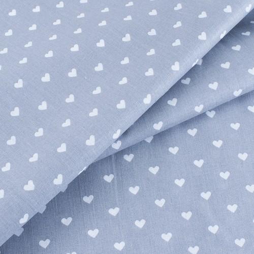 ткань на отрез бязь сердечки серый