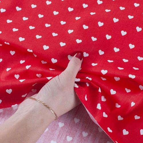 ткань на отрез бязь сердечки красный