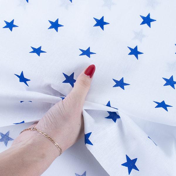 ткани оптом бязь плательная в рулонах звезды на белом василек