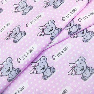 купить ткань поплин оптом плюшевые мишки Розовый