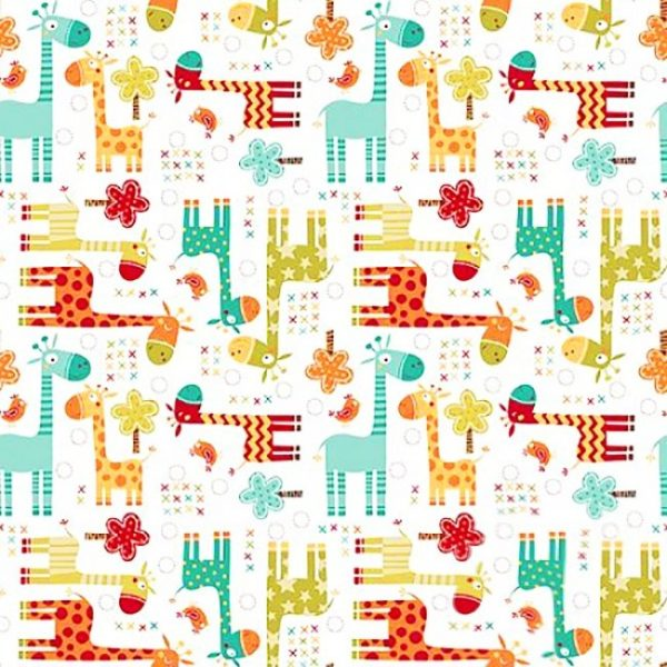 купить ткань поплин оптом жирафы