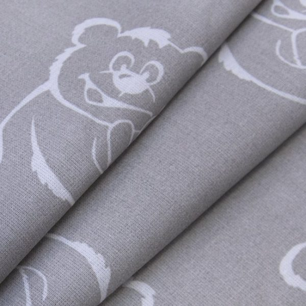 купить ткань поплин оптом мишки серый