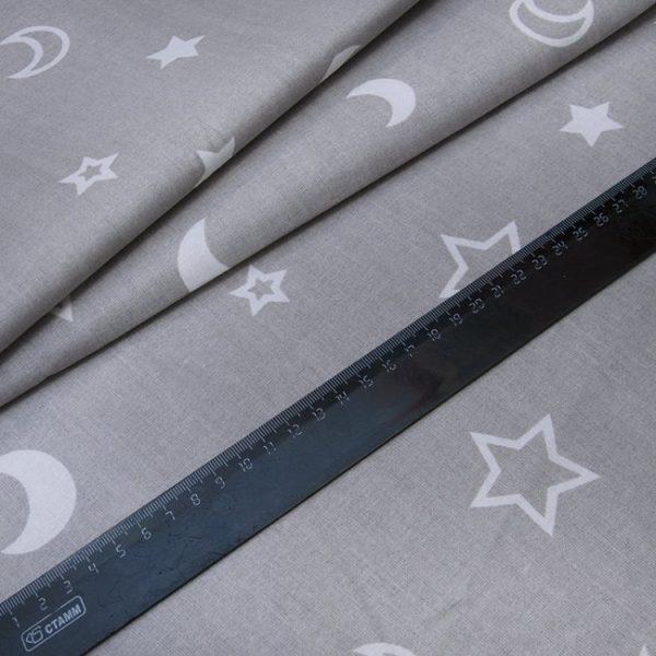 купить ткань поплин оптом звезды серый