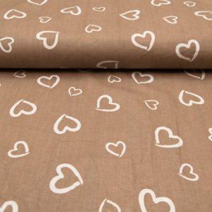 купить ткань поплин оптом сердечки коричневый
