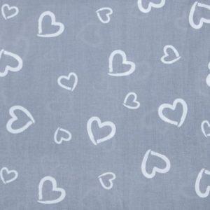 купить ткань поплин оптом сердечки Серый