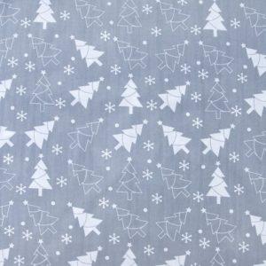 купить ткань поплин оптом Новогодние елочки Серый