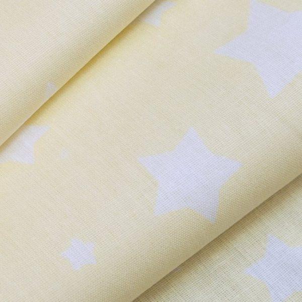 купить ткань поплин оптом звезды желтый