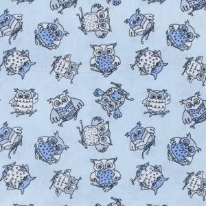 купить ткань поплин оптом совята голубой