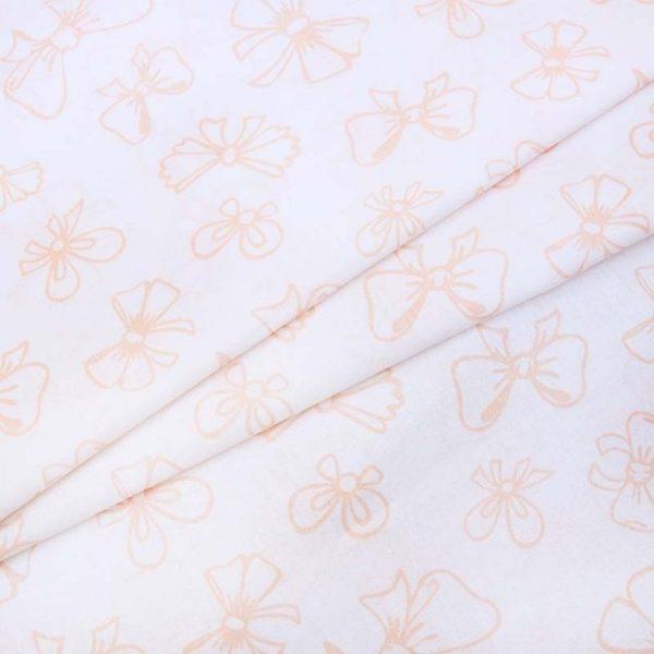 купить ткань поплин оптом бантики оранжевый