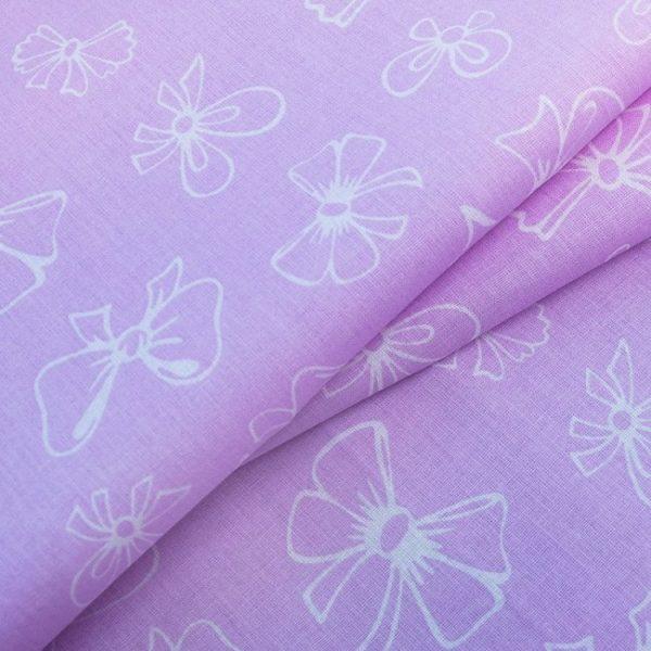 купить ткань поплин оптом бантики Розовый