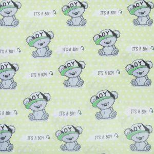 купить ткань поплин оптом плюшевые мишки Салатовый