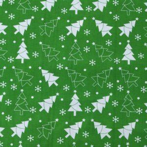 купить ткань поплин оптом Новогодние елочки Зеленый
