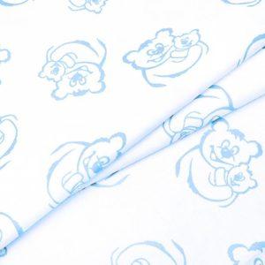 купить ткань поплин оптом мишки голубой