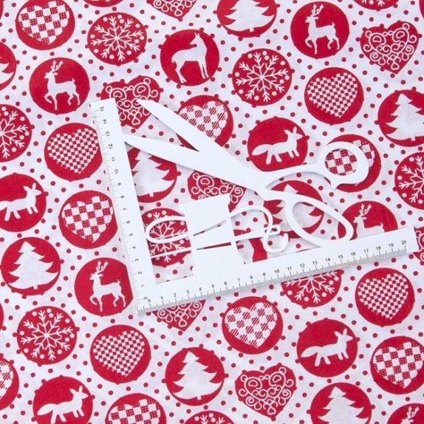 купить ткань поплин оптом Новогодние мотивы Красный