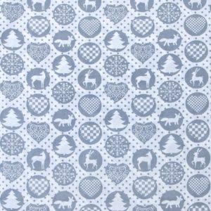 купить ткань поплин оптом Новогодние мотивы Серый