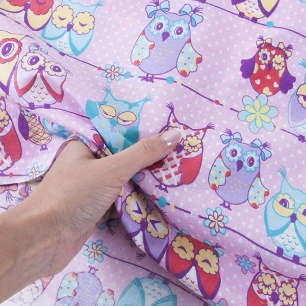 Ткань на отрез бязь детская 150 см Совы Розовый