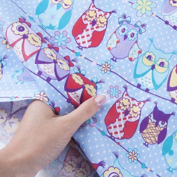 Ткань на отрез бязь детская 150 см Совы голубой