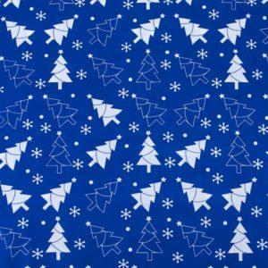 ткань поплин на отрез в розницу новогодние елочки Синий