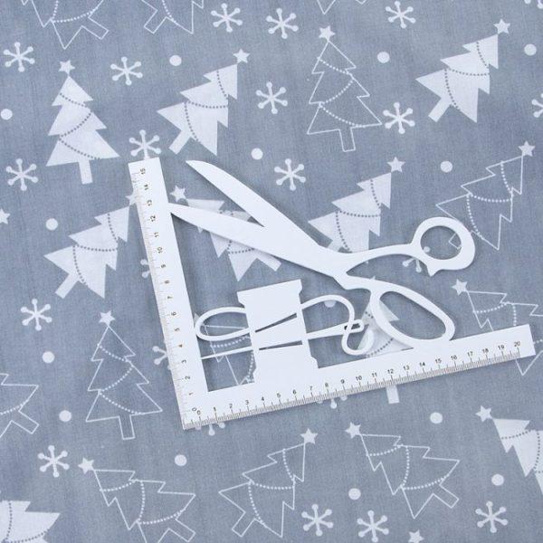 ткань поплин на отрез в розницу новогодние елочки серый