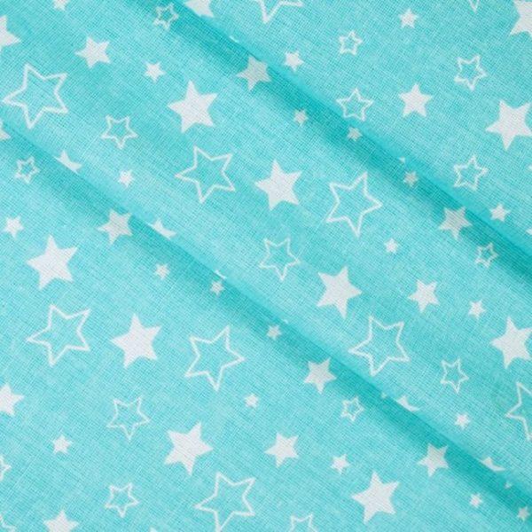 бязь плательная оптом в рулонах Звезды цвет бирюза