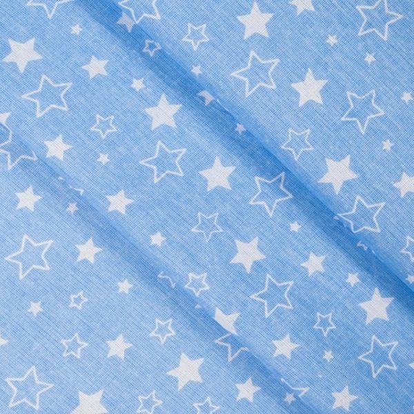 бязь плательная оптом в рулонах Звезды цвет голубой