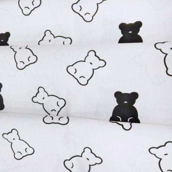 бязь плательная оптом в рулонах Мишки (контур) черный