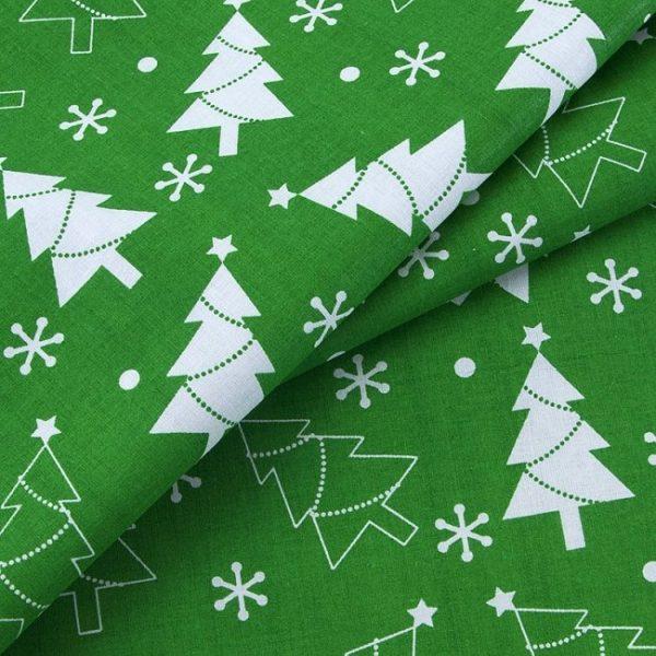 ткань поплин на отрез в розницу новогодние елочки зеленый