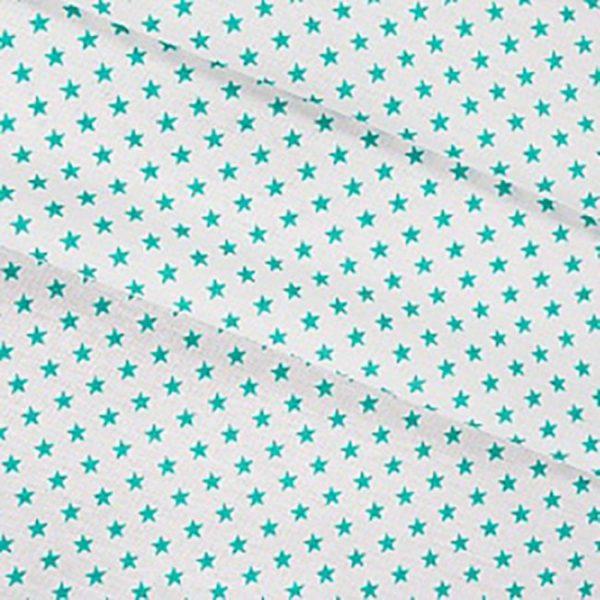 бязь плательная оптом в рулонах Мелкие звездочки 0.5 см цвет бирюза