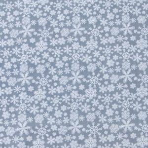 ткань поплин на отрез в розницу снежинка серый
