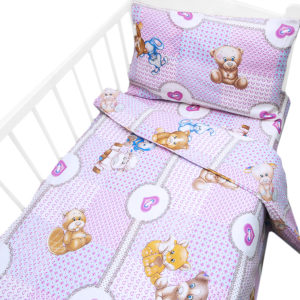 детское постельное белье бязь в кроватку ясельное на резинке розовый