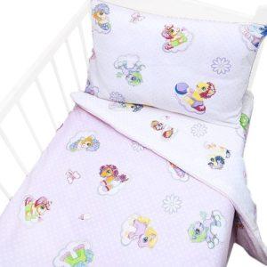 детское постельное белье поплин в кроватку на резинке