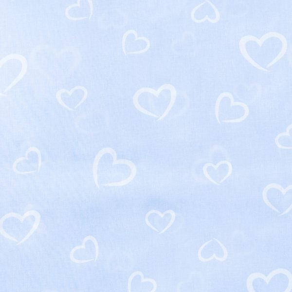 ткани оптом бязь плательная в рулонах сердечки голубой