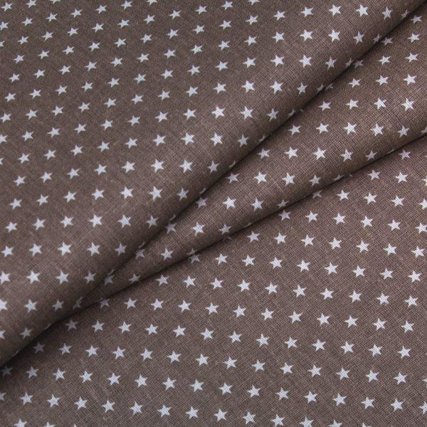 ткани оптом бязь плательная в рулонах звезды коричневый